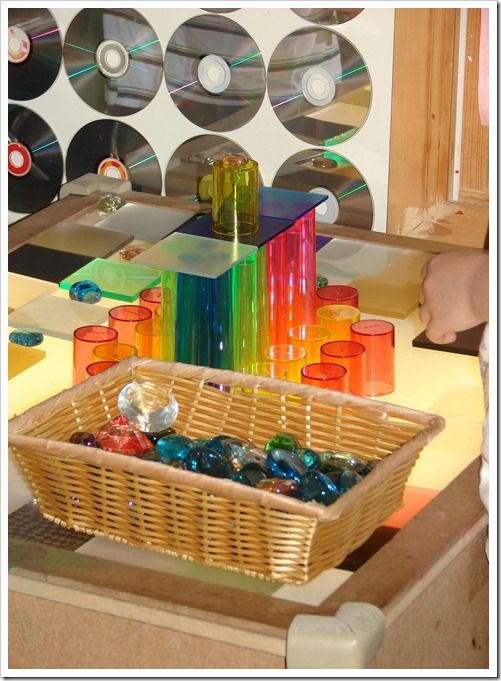 Instead of a mirror behind the light table how about a wall of CDs? What would it do outside mounted on a wall or fence?