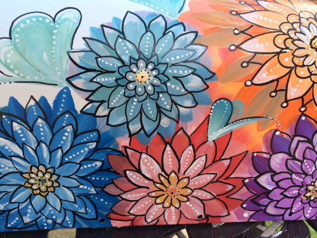 painted mailbox designs. Hand Painted Mailbox, Bohemian Style Floral Bold Colorful Flowers, Unique Design, Artistic Mailboxes, Creative Detail, Mailbox Art Designs
