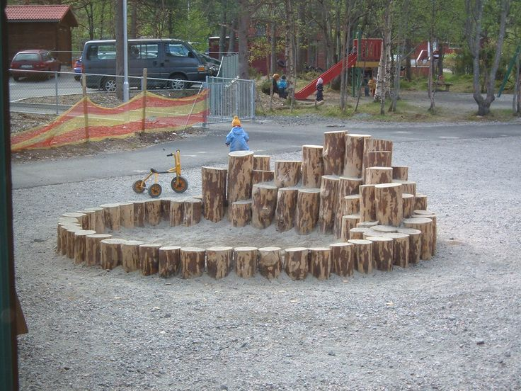 use logs to border the sandpit then they double as stepping stones