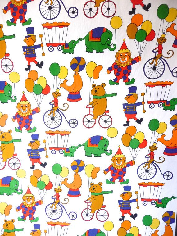 Vintage New Circus Print Cotton Fabric