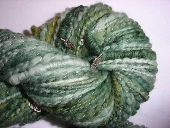 Dance of the Leaves - soft bulky weight merino Bohemian-style handspun yarn by EarthMother Designs.