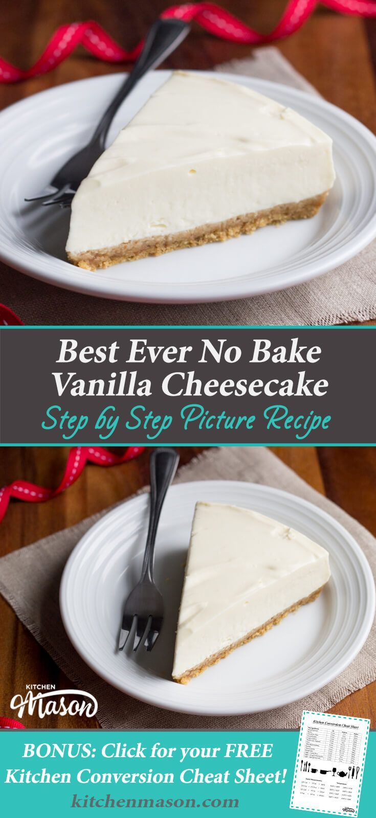 Creamy, light & incredibly luxurious - this No Bake Vanilla Cheesecake is the best EVER!