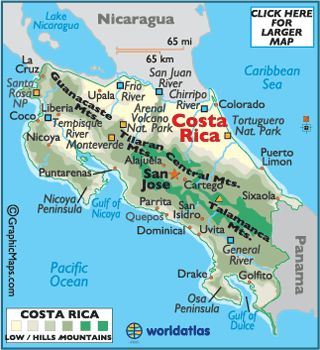 Map of Costa Rica - Central American Countries, Costa Rica Map History Information - World Atlas