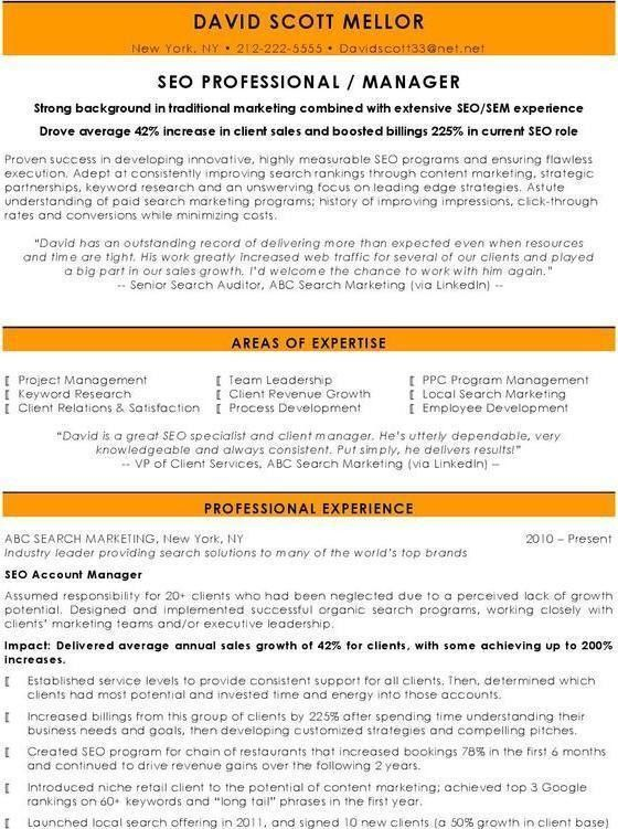 SEO Manager CV Resume Pinterest Cv examples