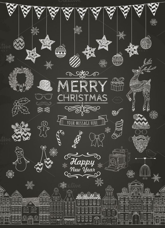 Set of Hand-drawn Outlined Christmas Doodle Icons and Design Elements on Chalkboard Texture. Xmas Illustration. Party Elements, Cartoons. Chalk Drawing AVAILABLE FORMATS: – fully editable