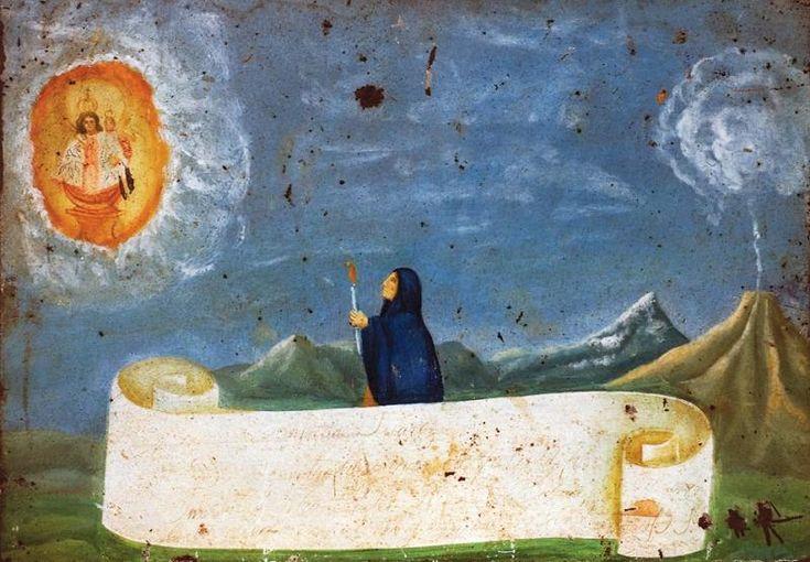 Samotne kobiety zapala świecę do Dziewicy z Apokalipsy jako lawy spadają.