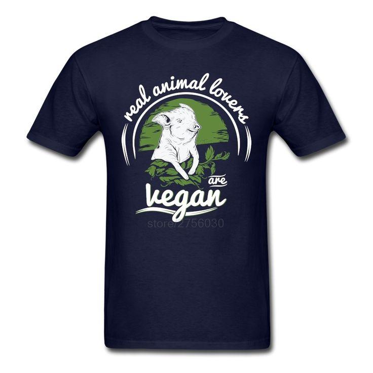Men's Boy Funny Real animal lovers are Vegan Shirt Custom Short Sleeve Boyfriend's T-shirts For Boy //Price: $18.95 & FREE Shipping //     #hashtag2