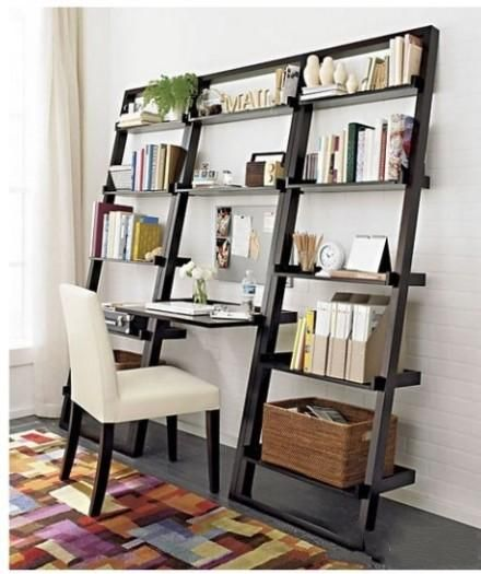 Space-saving bookshelf - great idea for a small office area - either in a spare bedroom or perhaps near the living room/kitchen area as a central home base.