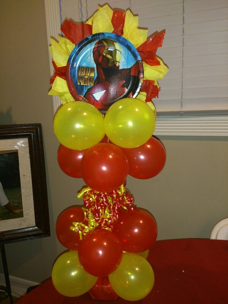 Iron Man Balloon Centerpiece.  created by Yola's Creations