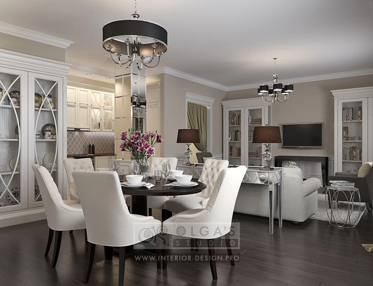 photo living room design with a kitchen and a dining room