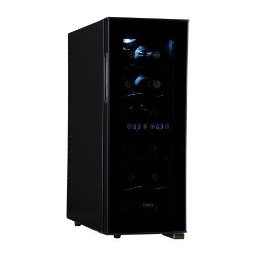Haier 12 Bottle Dual Zone Wine Cooler - Curved Door with Smoked Glass