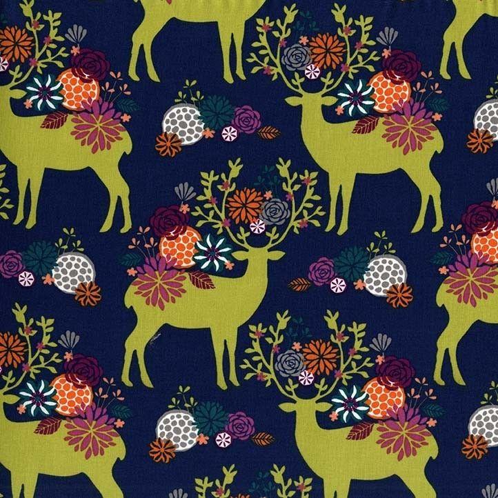 Michael Miller - Rustique - Yes Deer (Navy) Fabric