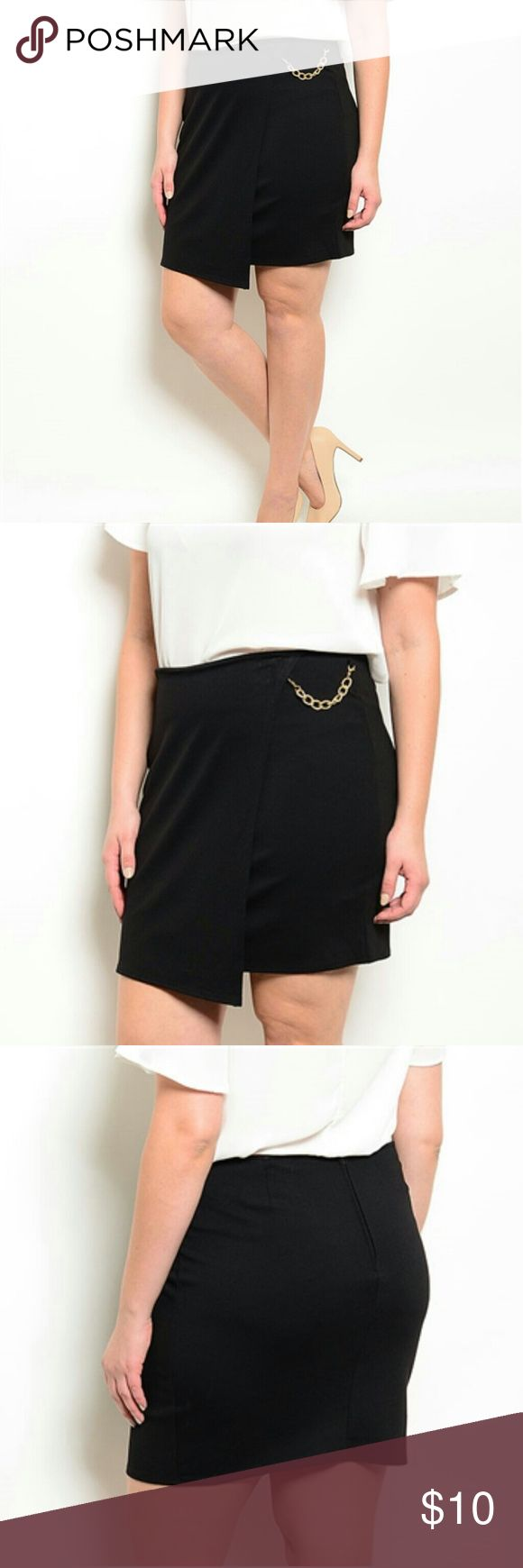 """New Plus Size Black Skirt with Chain New without tag...The chain can take off...Brand: Sky Plus...Size 1X  (waist 17"""" side to side, 18.5"""" Long) ---2X(waist 18""""side to side 19"""" long)--- 3X (waist: 19"""" side to side, 19.5"""" Long) Sky Skirts Mini"""