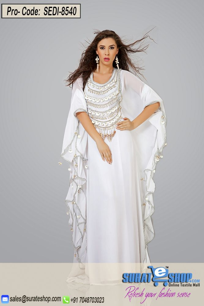 Be The Dazzling Diva Clad In This Off White Chiffon Gown With Exquisite Forms And Patterns. The Gorgeous Bead, Moti Work Through The Dress Is Awe-Inspiring. Paired With A Matching  Semi Stitched  Visit: http://surateshop.com/product-details.php?cid=2_27_47&pid=12225&mid=0