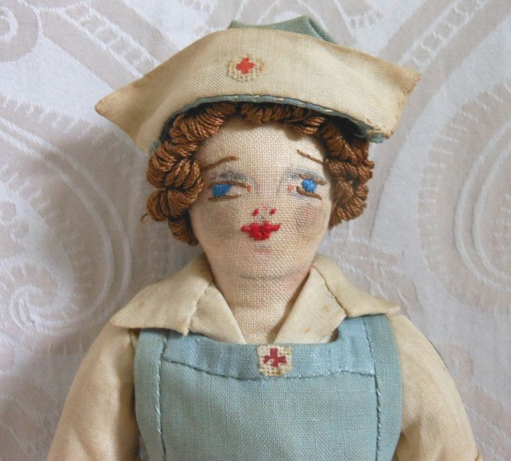 Vintage Artist Cloth Red Cross Nurse Doll