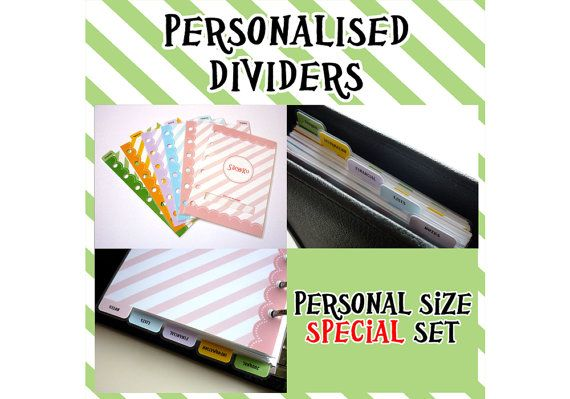 SIZE: PERSONAL (special set) 5 Personalised Dividers with 1 Registration Number Cover for Filofax (simple version)
