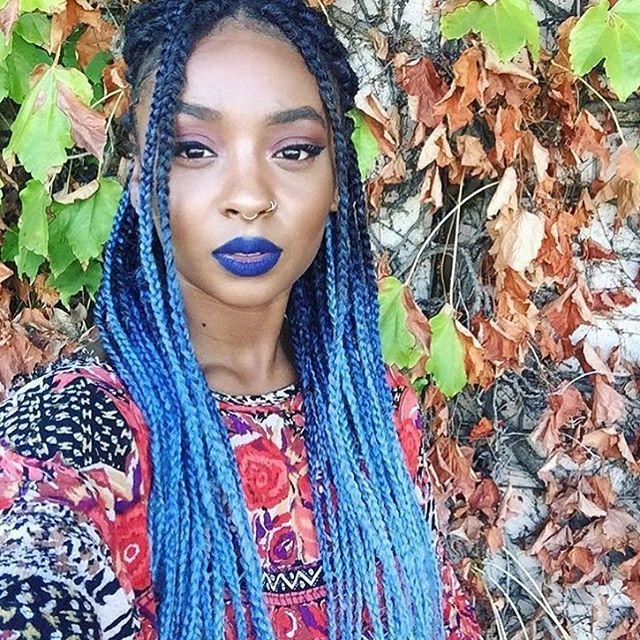 Colored Box Braids | Blue & Bleached