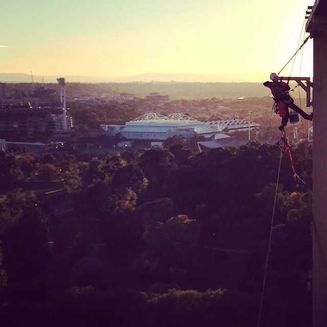 Views of the Rod Laver Arena and MCG whilst the sun sets on the best city in the world #Melbourne