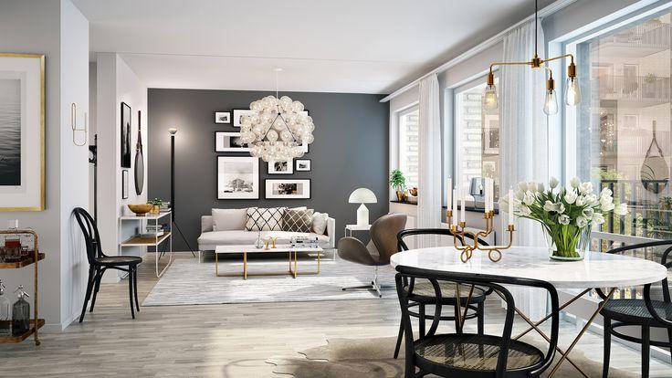 Den eleganta stilen Shades of Grey är i grunden en palett av grå toner, där vi använder vit marmor som ett återkommande material. Stilen får extra guldkant när du adderar mässing i måttliga mängder. En takpendel, ljusstakar, krukor och andra detaljer fördelas över rummet för att få en varm och luxuös känsla. Nakna ljuskällor ger ett varm och stilfullt intryck. Se även två andra stilar; Nordic White och Soft Black.