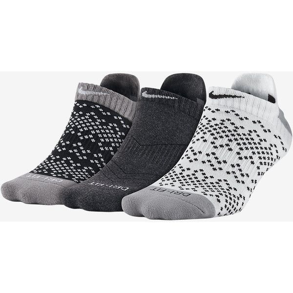 Nike Dri-FIT Graphic No-Show Women's Socks (3 Pair). Nike.com ($18) ❤ liked on Polyvore featuring intimates, hosiery, socks, dri fit socks, nike socks and nike