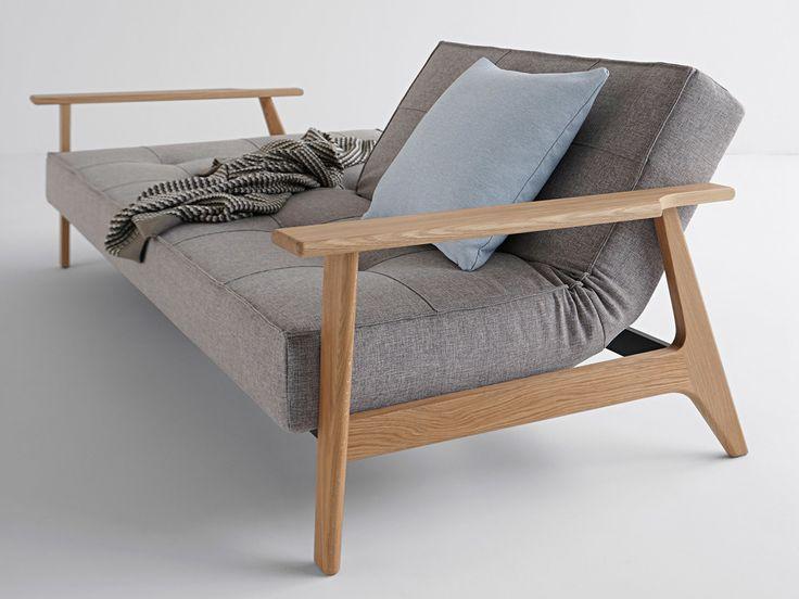 Canapé convertible en tissu avec pieds et accoudoirs en bois SPLITBACK