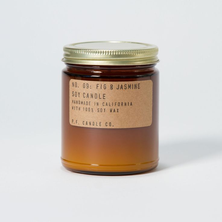 The Fig & Jasmine scent evokes a lush Mediterranean landscape, with rich fruity notes lingering in the air: intoxicating fig, apple and fresh lemon are the first to the nose.   A mossy base of amber and sandalwood ground the fragrance, rounded out with jasmine and subtle sweet notes of green florals.   P.F. Candle Co. is a small batch candle company based in Los Angeles, each candle is hand poured and packaged in their Los Angeles Studio.  All of their candles are made using domestically…