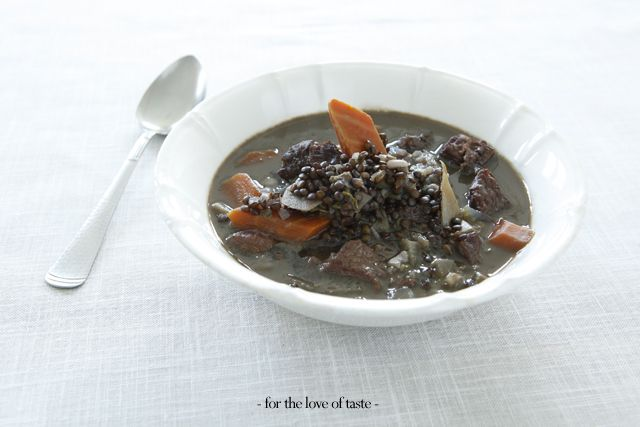 Beluga lentils - beef soup with apple The caviar amongst the lentils.  http://fortheloveoftaste.wordpress.com/2013/05/28/beluga-lentils-beef-soup-with-apple/