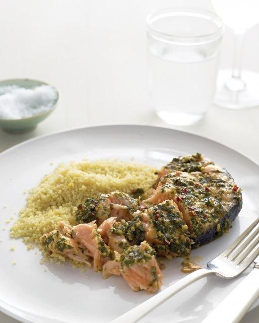 Marinated Salmon Steaks with Couscous Recipe
