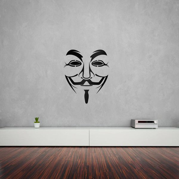 Vinyl Revolution Anonymous Guy Fawkes Mask Vinyl Wall Art Decal (395 MXN) ❤ liked on Polyvore featuring home, home decor, wall art, vinyl wall art decal sticker, vinyl wall art decals, vinyl home decor, wall vinyls home decor and wall art decal stickers