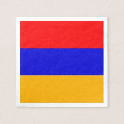 Patriotic paper napkins with flag of Armenia - kitchen gifts diy ideas decor special unique individual customized