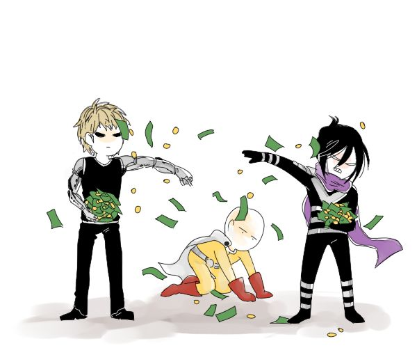 Money shower! | Genos, Saitama, and Speed of Sound Sonic | One Punch Man