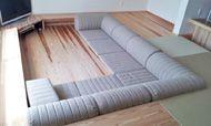 ピットリビングのソファのある暮らし-三重県 U様 スキップソファミニ F-13:ベージュ|ローソファ専門店 HAREM