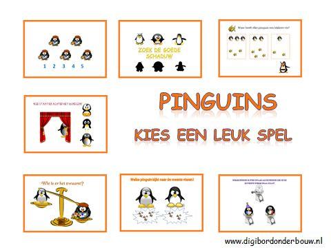 Powerpoint Downloads - Pinguins digibord lessenIn deze digibordles zitten 7 verschillende spelletjes. Eén spel is pinguins tellen van 1 tot en met 20. Er zitten twee weegspelletjes in. Eén spel gaat over een pinguin die achter een gordijn staat. Welke pinguin is dat? Welke schaduw hoort bij de pinguin en wie heeft de meeste of minste vissen in zijn wak. Tenslotte een spel of elke pinguin een vis heeft of dat er vissen te veel of te weinig zijn.