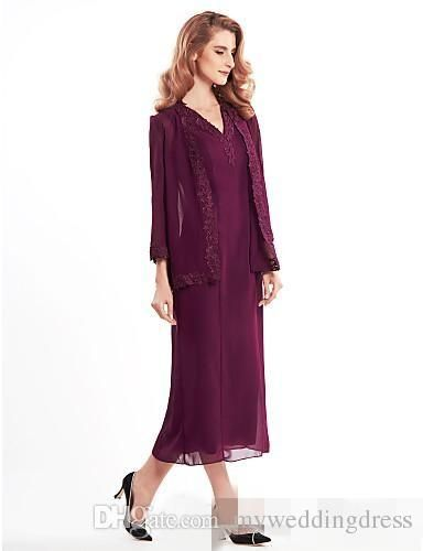 Grape Chiffon Mother Of the Bride Dresses With Jacket Long Sleeves Appliques Tea Length Plus Size 2017 For Wedding Guest Formal