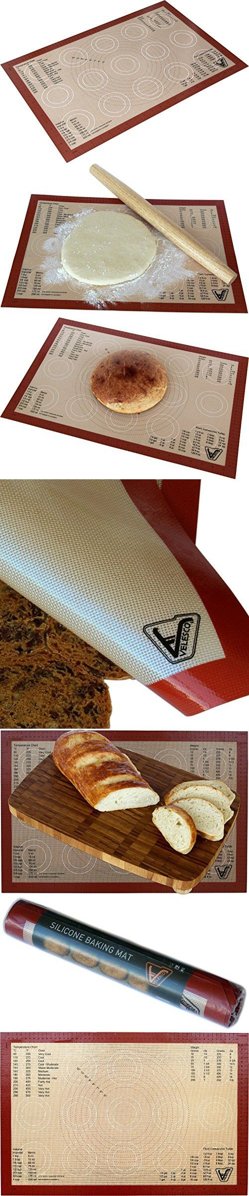 "Silicone Baking Mat - Large Size Sheet (Thick & Large 15"" x 23"") - Non Stick Silicon Liner for Large Bake Pans & Trays - Rolling, Macaron/Pastry/Cookie/Bun/Bread Making - Professional Grade Nonstick"