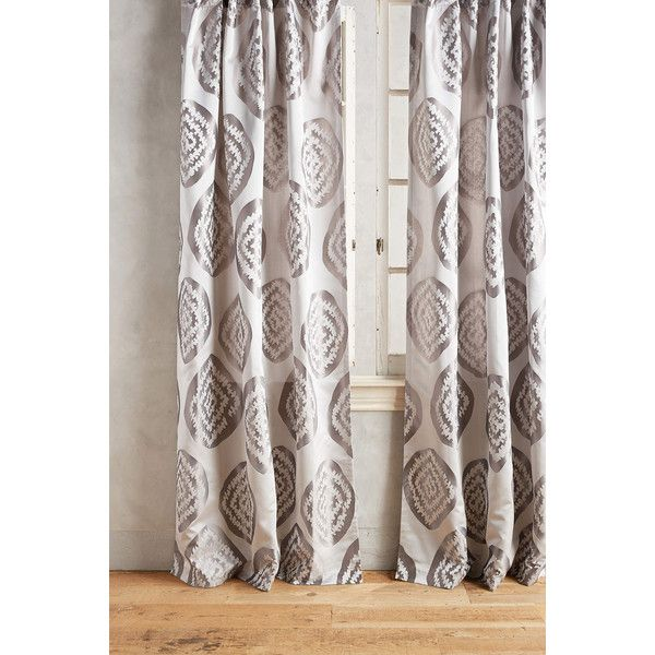Anthropologie Jacquard Kiki Curtain ($118) ❤ liked on Polyvore featuring home, home decor, window treatments, curtains, grey, anthropologie curtains, gray window treatments, jacquard curtains, woven curtains and grey home decor