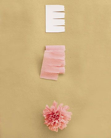 Carnation    Use three strips of petals (get the template below), each 12 inches. Tightly pleat bottom edge of one strip, then wrap it firmly around itself, keeping bottom edge aligned. Secure with floral tape. Repeat with other strips. Tape bases of rolled strips to the end of a plain floral wire and to one another, wrapping tape down stem. Pull petals outward to create a dome.