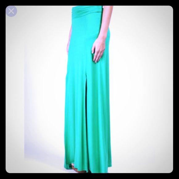 Maxi skirt with slit Maxi skirt with slit. Size medium. NWOT. Light teal/sea-foam green. Charlotte Russe Skirts Maxi