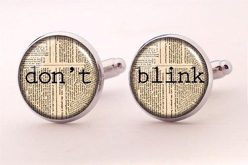 Doctor Who Cufflinks,Don't Blink Cufflinks,Groomsmen Wedding Cufflinks