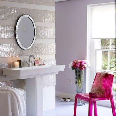 sparkle walls...I want!!Decor, Bathroom Design, Ideas, Powder Room, Glasses Tile, Stripes Wall, Bathroom Wall, Wall Tile, Mosaics Tile