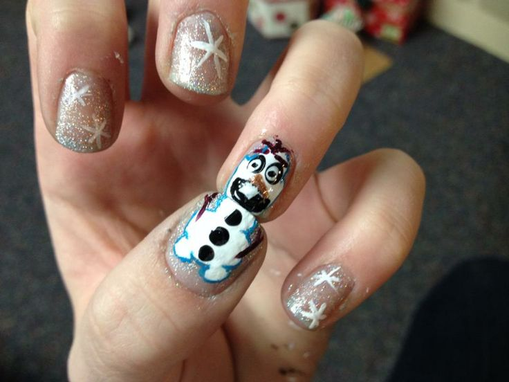 Olaf nails, inspired by Disney's Frozen