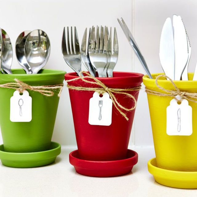 Transform Plant Pots Into Stylish Cutlery Holders prima.co.uk