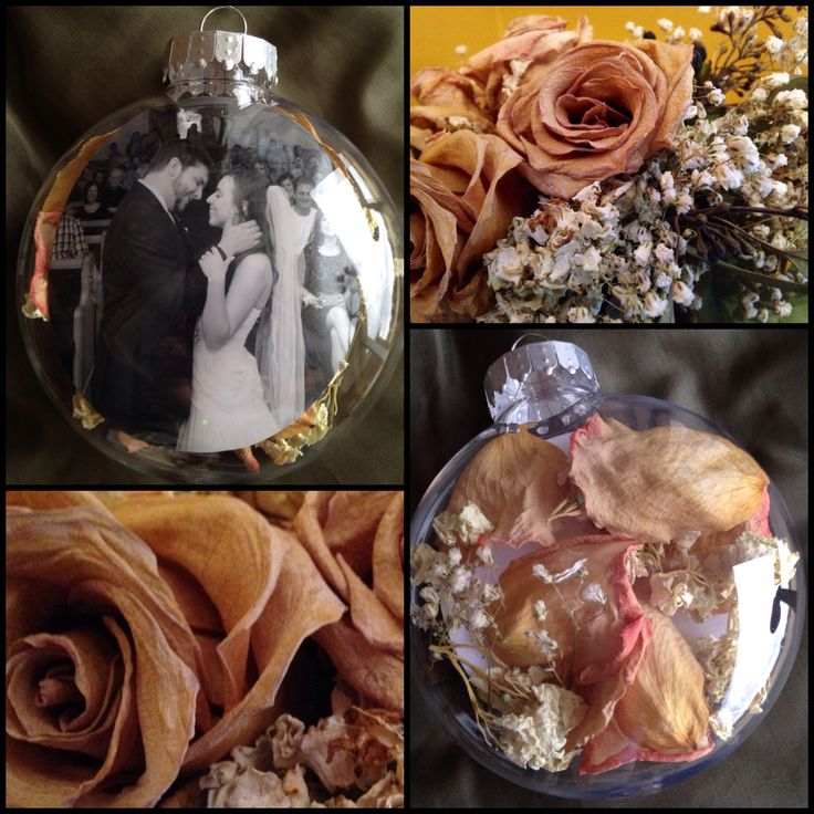 Wedding Christmas ornament! Image of wedding kiss in front, dried flowers from her bouquet in the back. Diy picture ornament