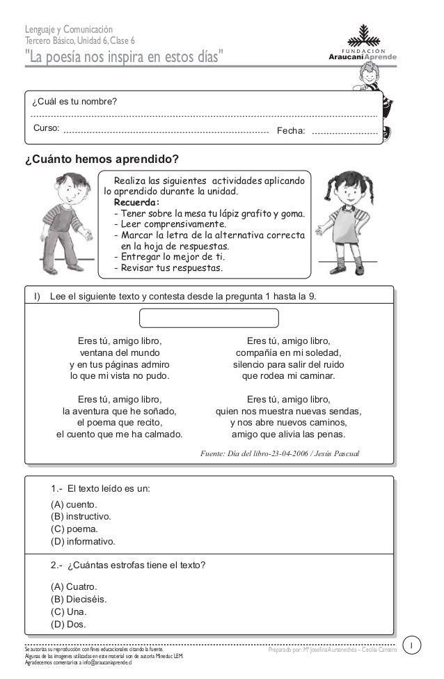 Resultado de imagen para guia de trabajo EL POEMA 3 BASICO.