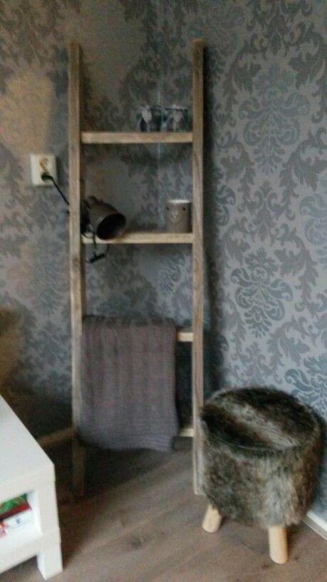 Decoratie ladder steigerhout ideetjes pinterest ladder for Decoratie ladder action