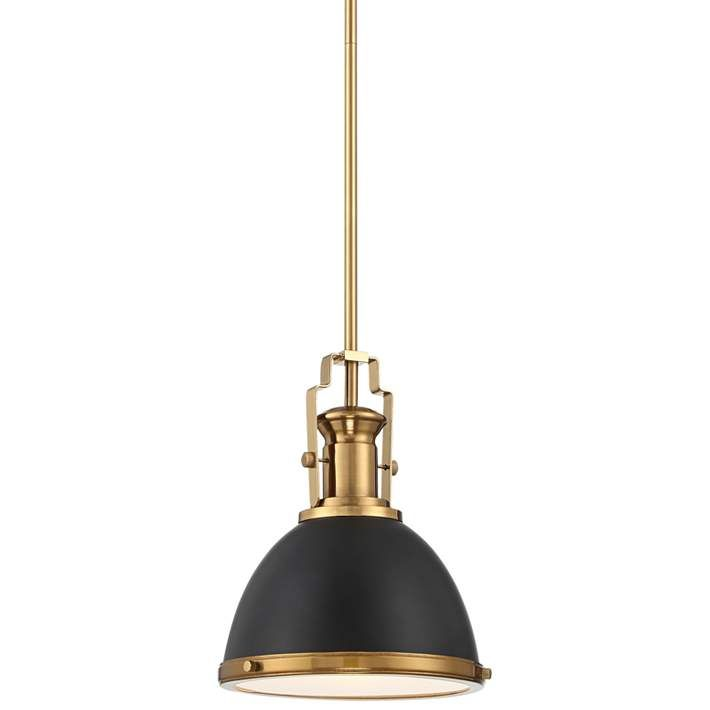 Memphis 9 3 4 Wide Black And Burnished Brass Mini Pendant 64t25 Lamps Plus Gold Pendant Light Kitchen Mini Pendant Lights Stylish Pendant Lighting Brass mini pendant light