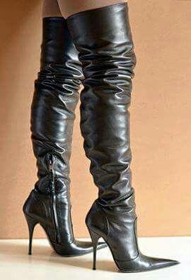 Black OTK high heel boots