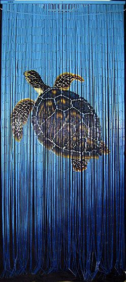 Bamboo doorway beads curtain with Hawaiian sea turtle