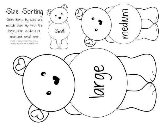 Sorting Teddy Bears small, medium, and large.