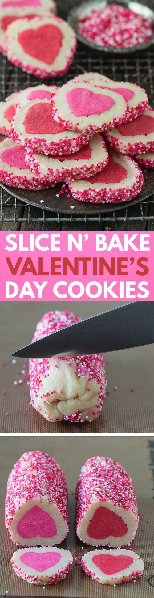 Homemade Valentine's Day Slice N' Bake Cookies with a step by step video!: